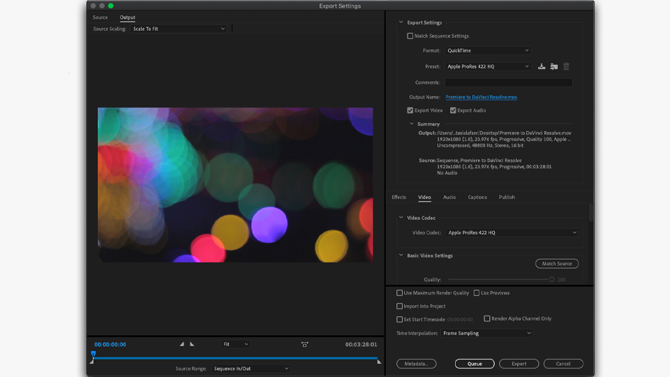 Export settings for a Premiere Pro to Blackmagic DaVinci Resolve roundtrip workflow using EDL.
