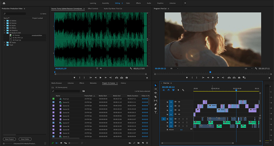 A screenshot of the new Productions workflow in Adobe Premiere