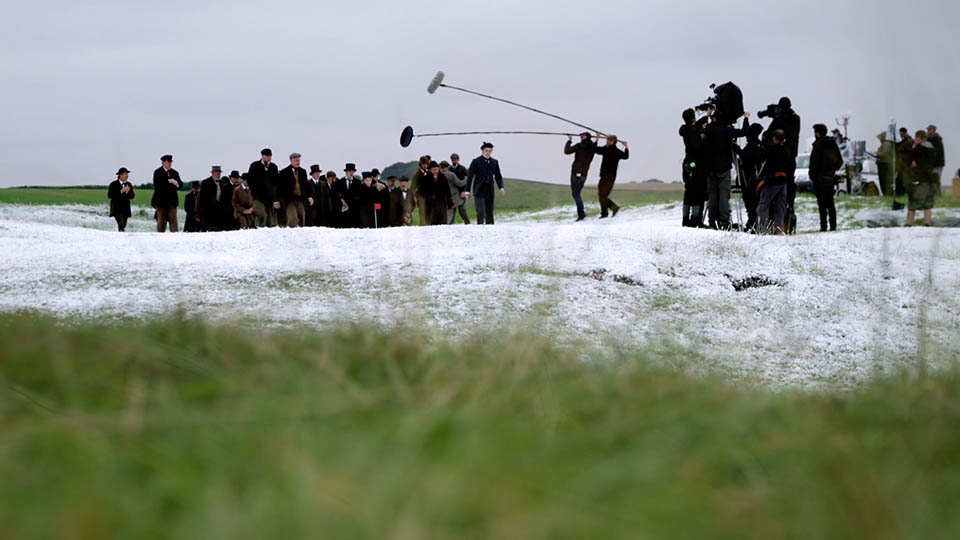 Behind the scenes on location filming on golf course